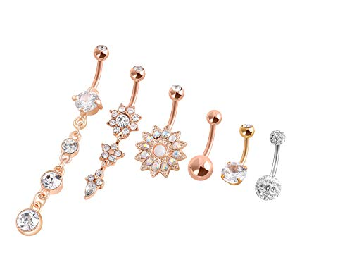 6Pcs Belly Button Rings Dangle Surgical Steel for Women Belly Rings Curved Barbell Body Jewelry Piercing 14G (Gold 14G=1.6mm) Designer Gold Navel Ring