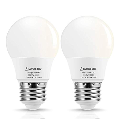 - LOHAS LED Refrigerator Light Bulb, 40W Equivalent 120V A15 LED Lamp, 5 Watt Daylight 5000K with E26 Medium Base, Energy Saving Freezer Ceiling Home Lighting, Not-Dim, Waterproof, 2 Pack