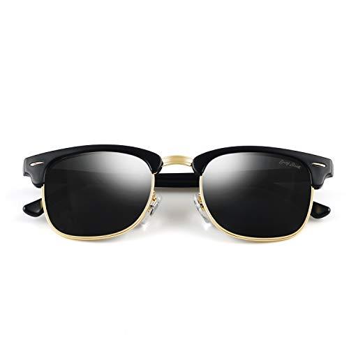 GREY JACK Classic Polarized Half Frame Mirrored Sunglasses Fashion Eyeglasses for Men Women Matte Black Frame Black - Discount Eyeglasses Rimless