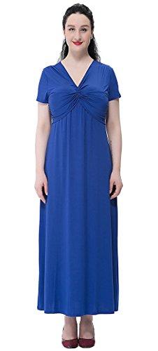 FEOYA Mujer Nuevo Vestido Largo Alta Cintura Escote V con Mangas Cortas para Fiesta Verano Azul