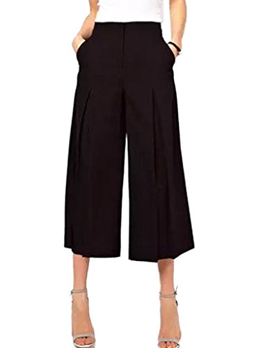 CHOiES record your inspired fashion Choies Women's Black High Waist Plain Wide Leg Palazzo Pants Italian Cady Culotte L ()