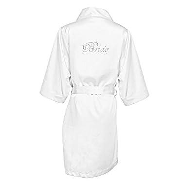 Rhinestone Bride Satin Robe Style DBBRRB, White, L/XL