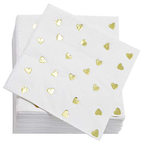 (Juvale Gold Heart Cocktail Napkins (50 Pack) 5 x 5 Inches, Gold Foil)