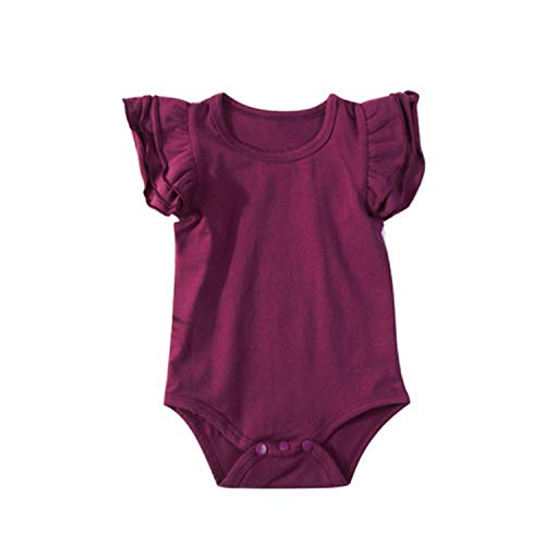 Lovely Newborn Infant Baby Girl Ruffles Sleeve Solid Color Cotton Baby Bodysuit Jumpsuit Playsuit Outfit Baby Clothes 0-24M(24M,Wine Red)