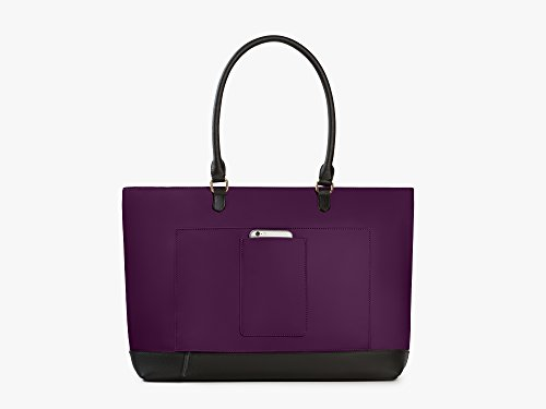 Archer Brighton Isabel Women's Laptop & Tablet Zip Tote, Women's 15.6 & 17 Inch Business Computer Briefcase Bag with Crossbody, Leather Canvas Organizer Handbag Purse for Work, Travel (Bilberry) by Archer Brighton (Image #2)