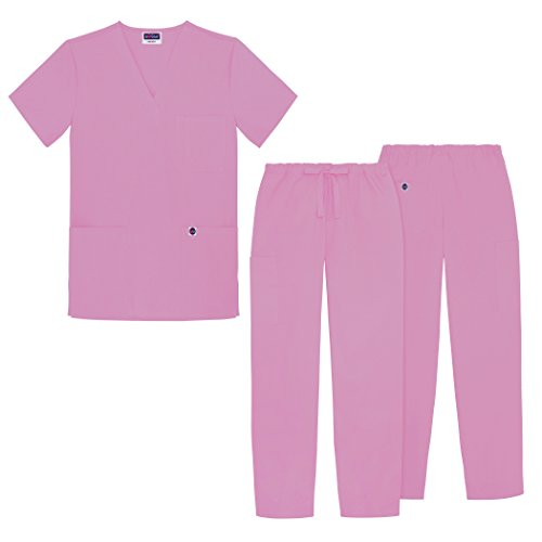 Sivvan Unisex Classic Scrub Set V-neck Top / Drawstring Pants (Available in 12 Solid Colors) - S8400 - Sherbet - S