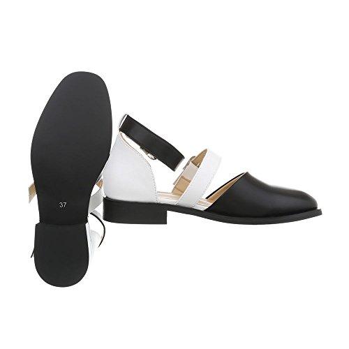 Women's Ballet Flats Block Heel Classic Ballet Flats at Ital-Design Black White EWFJQFwJ