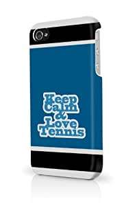 Blue Keep Calm And Love Tennis iPhone 5 & 5S - Fits iPhone 5 & 5S Full Print Plastic Snap On Case
