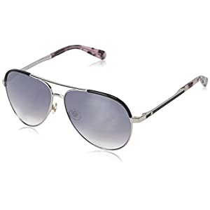 Kate Spade Women's Amarissa Aviator Sunglasses, Palladium Black/Gray SF Mirror Gradient, 59 mm