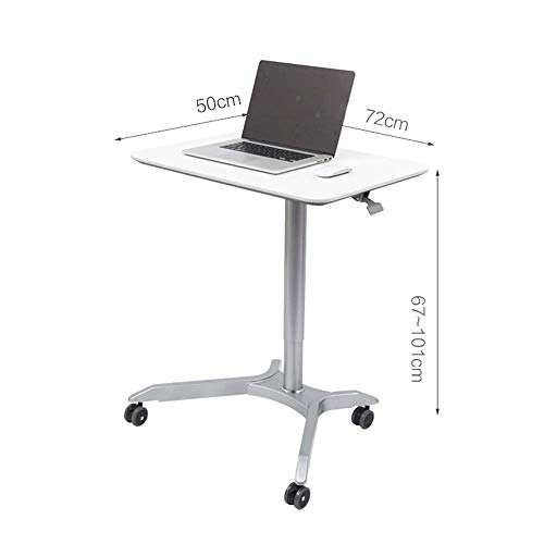 Tingting Side Table Desk End Bedside Snack Height-Adjustable from 67 to 101 cm Laptop Table Pneumatic Sit-Stand Mobile Desk Cart Assembly Pulley (Color : White, Size : 725067-101cm)