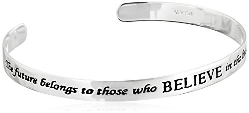 "Sterling Silver ""The Future Belongs To Those Who Believe In The Beauty Of Their Dreams"" Cuff Bracelet"