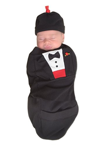 Cozy Cocoon ''Super Easy Swaddling'' Outfit with Matching Hat - Tuxedo, 0-3 Months by Cozy Cocoon