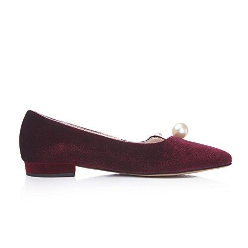 Shoes Niedrige Damenmode Weinrot Spitzschuh Mee Ferse Pearls Schuhe Gericht Faux dqX5WxwR