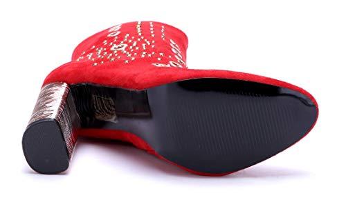 Stiefel 11 Boots Schuhe Damen Rot Schuhtempel24 High Nieten Stiefeletten cm Heels Blockabsatz Klassische xIq8n