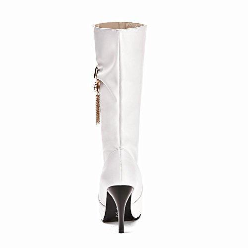Donne Carolbar Plus Size Strass Moda Sexy Data Tacco Alto Stivali A Metà Polpaccio Bianco