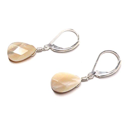 Mother of Pearl Shell Briolette Lever Back Earrings Sterling Silver ()