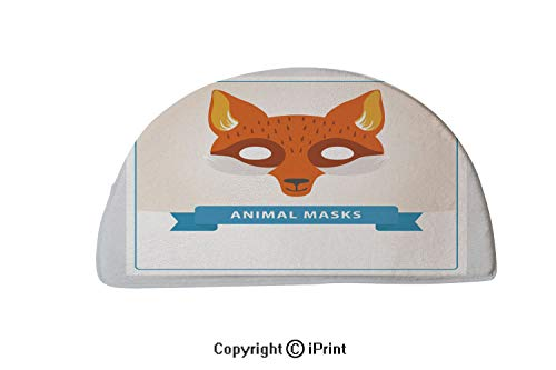 Semi Circle Super Soft Bath Room Micro Fiber Bath Rug,24x16 inch,Fox role play mask for children s theater or birthday party Cute animal s muzzle Flat vector design for invitation kids greeting card o ()