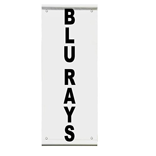 Blu Rays Black Double Sided Vertical Pole Banner Sign 24 in x 48 in