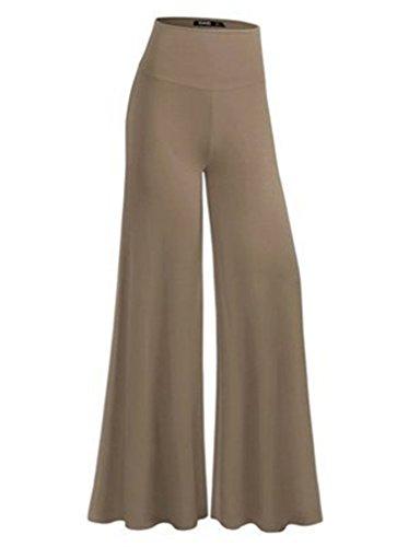 SHUIANGRAN Women's Khaki Soft Wide Leg Palazzo Pants with High Fold Over Waist Band