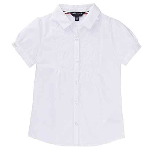 (French Toast School Uniform Girls Short Sleeve Bib-Front Lace Blouse, White, 4)