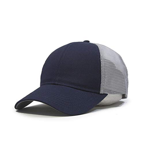 Vintage Year Plain Cotton Twill Mesh Adjustable Snapback Trucker Baseball Cap (Navy/Gray)