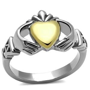 Irish Claddagh Ring Stainless Steel Two Tone Silver and Gold Claddagh (Wear Irish Claddagh Ring)