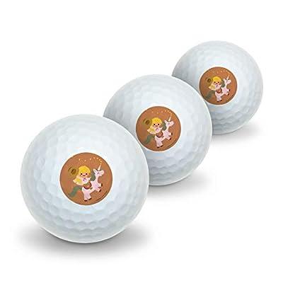 GRAPHICS & MORE Cartoon Girl Riding Magical Horned Pink Unicorn Novelty Golf Balls 3 Pack