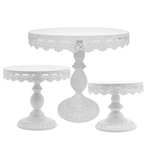 8 Inch / 10 Inch / 12 Inch Iron White Cake Stand Round Pedestal Dessert Holder Cupcake Display Rack Birthday Wedding Party Decoration 3PCS/set (White)