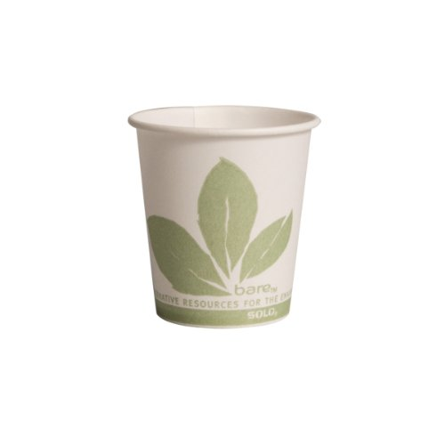 "Solo 44BB-JD110 Bare Eco-Forward Treated Paper Cone Water Cup, Rolled Rim, 3 oz. Capacity, 2.2"" x 2.4"" (Case of 5,000)"