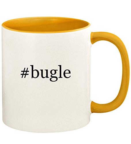 #bugle - 11oz Hashtag Ceramic Colored Handle and Inside Coffee Mug Cup, Golden Yellow