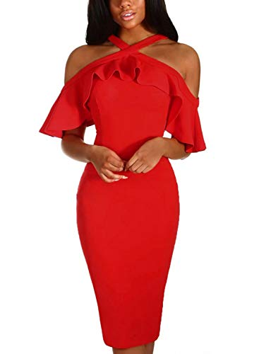 AlvaQ Womens Laides Sexy Ruffle Sleeve Frill Halter Criss Cross Cold Shoulder Party Cocktail Wedding Bodycon Midi Knee Length Dress Red Small by AlvaQ