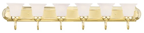 Livex Lighting 1076-02 Riviera 6-Light Bath Light, Polished Brass (Light Fixtures Bathroom Polished Brass)
