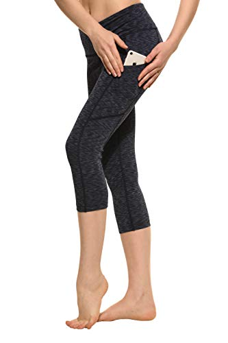 CYZ Women's Space-Dyed Tummy Control Yoga Workout Capri with Cell Phone Pocket (L, Darkgrey) ()