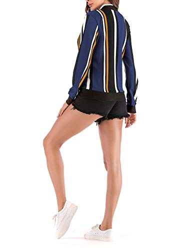 Onlyoustyle Corto Cappotto Manica Tops Giacca Bomber Primavera Baseball Blu Reale Autunno Coat Lunga Outerwear Giacche Casual Moda Stampa Donna Blouse E Jacket Sq7rSwg