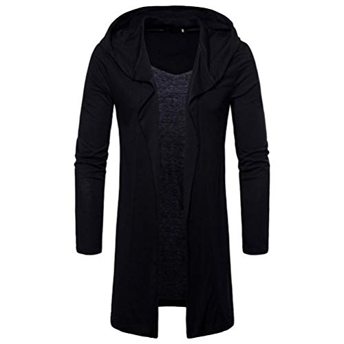 Long Kimono Cardigan for Men,Lightweight Hooded Solid Trench Coat Jacket Cardigan Long Sleeve Outwear Blouse (XL, Black) by Goodtrade8 Clearance