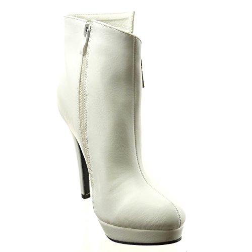 Sopily - Chaussure Mode Bottine Plateforme Cheville femmes Fermeture Zip Talon haut bloc 12.5 CM - Intérieur fourrure synthétique - fourrée - Blanc