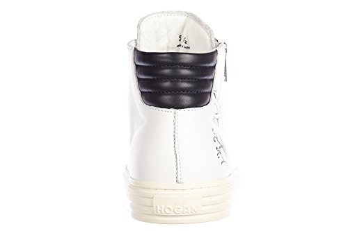 Hogan Rebel chaussures baskets sneakers hautes homme en cuir rebel r206 blanc