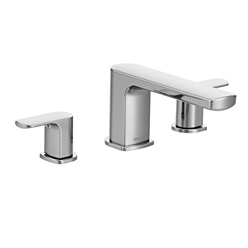 (Moen T935 Rizon Two-Handle Low Arc Roman Tub Faucet Trim without Valve, Chrome)
