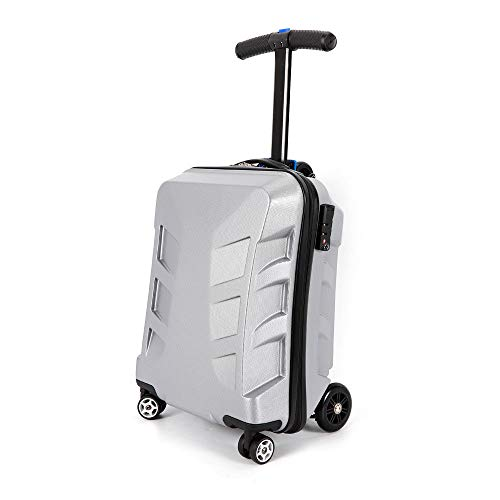 ONEPACK Scooter Luggage 21 inches Trolley Case Foldable Suitcase Carry on Bags with Skateboard for Travel Business School – Silver,US Warehouse