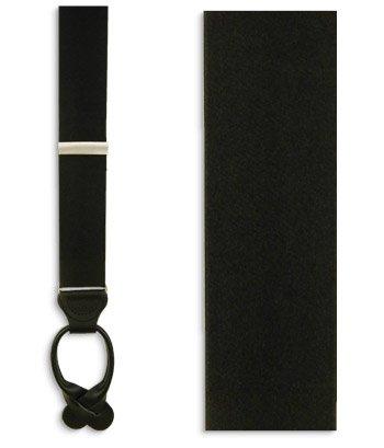 The Tie Bar 100% Silk Black Solid Satin Suspenders