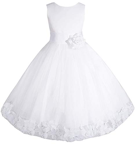 AMJ Dresses Inc Big-Girls' White Flower Girl Communion Dress E1008 Sz 14