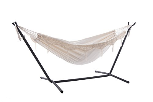 Vivere Double Hammock with Space Saving Steel Stand, Natural (Vivere Stand Steel Hammock With Double Fabric)