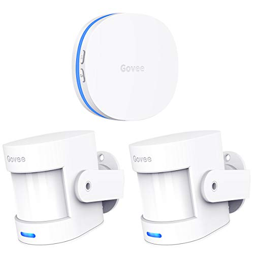 Govee Home Security Motion Detector Alarm/Motion Sensor Alert, Wireless Driveway Alarm for Indoors, Store Door Entry Chime, 2 PIR Motion Detectors and 1 Plug-in Receiver