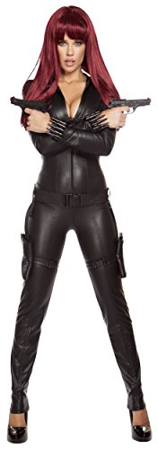 Roma Costume Women's 2 Piece Alluring Assassin, Black, Large - Black Widow Comic Book Costumes
