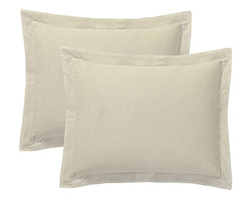 Today's Home Pillow Shams Soft Cotton Blend Tailored Classic Styling, Standard, Ivory (2 Pack)