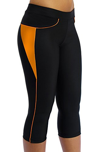 ScudoPro Capri Legging Knicker Padded Cycling Pant for Women 3/4 Orange - Size XL ()