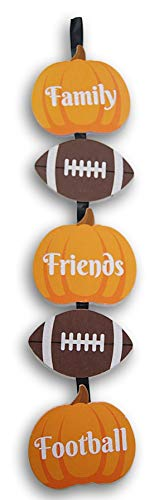 Autumn and Football Themed Glittery Decorative Jointed Hanging Sign - Family Friends Football - 25 Inches Tall