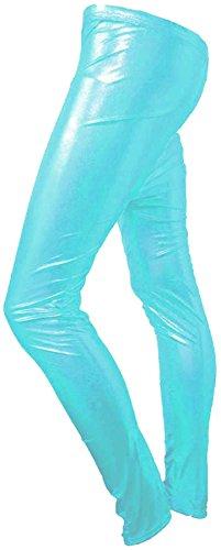 New Womens Ladies Shiny American Metallic Disco Leggings Wet Look Stretchy Pants