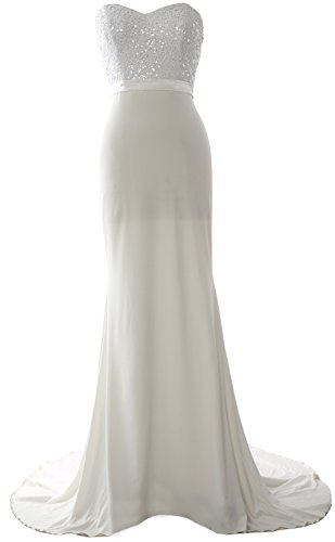 Sequin MACloth Gorgeous Prom Dress Bridesmaid Long Elfenbein Gown Strapless Mermaid Jersey qRqYrH
