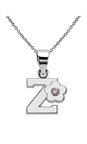 Kebaner Pink Crystal Flower Alphabet Letter Initial Z Script Word Pendant Necklace